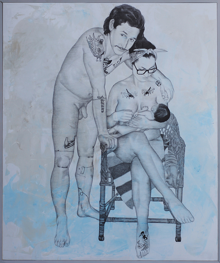 2014 | Enöckl Family | Pencil and acrylic on canvas | 150x180 cm