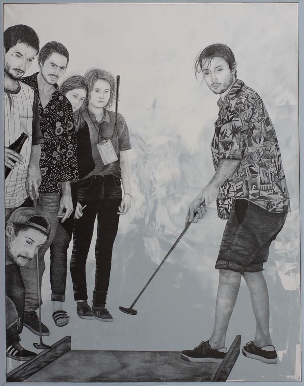 2015 | Minigolf | Pencil and acrylic on canvas | 140x180 cm