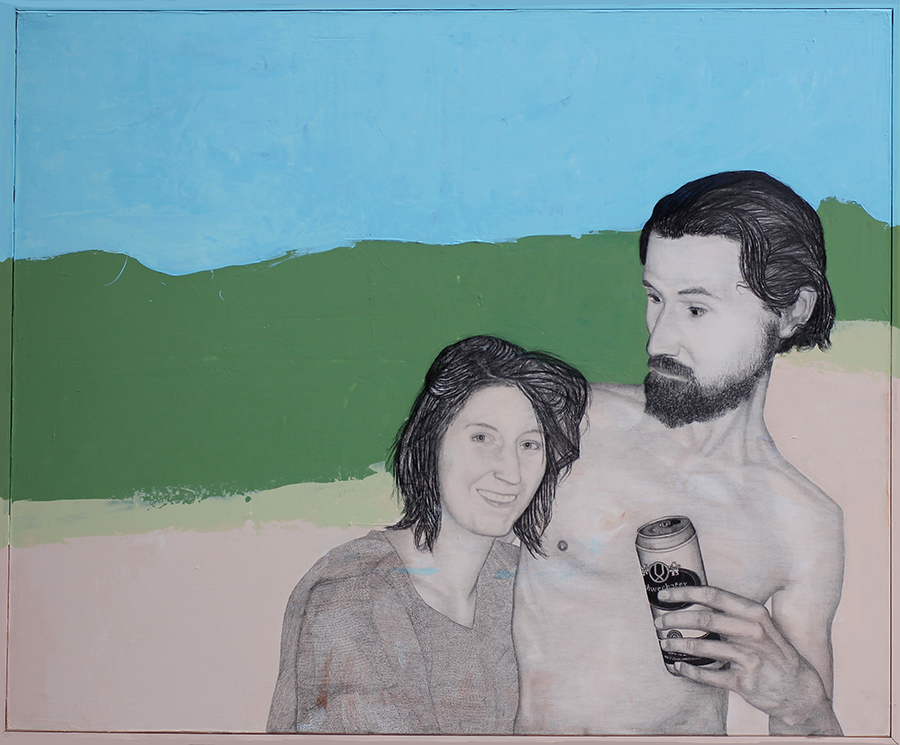 2015 | Honey, I only had 3 beers: Esther & Frido | Pencil and acrylic on canvas | 170x140 cm